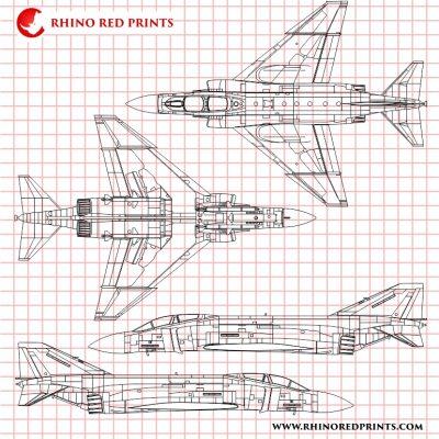 McDonnell Douglas F-4J Phantom II rhino red prints drawings vector