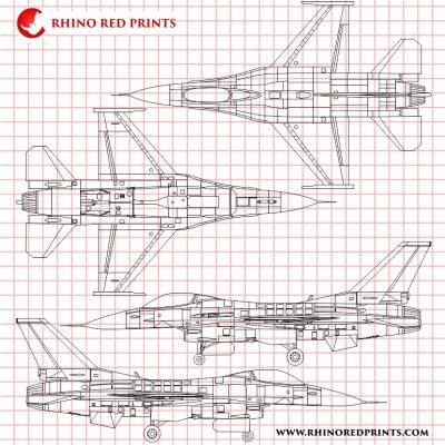 General Dynamics F-16C Fighting Falcon rhino red prints