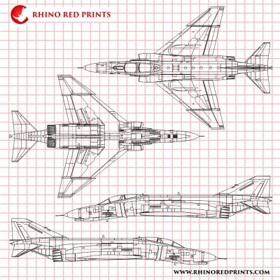 McDonnell Douglas F-4E Phantom II rhino red prints drawings vectors