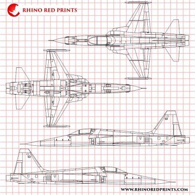 Northrop F-5E Tiger II rhino red prints vectors drawings