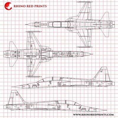 northrop f-5f tiger II vector drawings rhino red prints