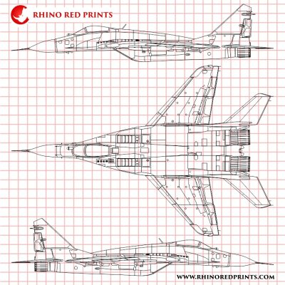 Mikoyan-Gurevich MiG-29S 9-13 Fulcrum-C rhino red prints drawings vectors
