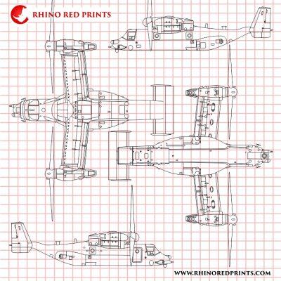 Bell Boeing MV-22 Osprey rhino red prints vectors drawings